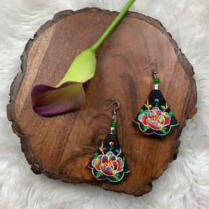 Green & Red Floral Embroidered Statement Earrings